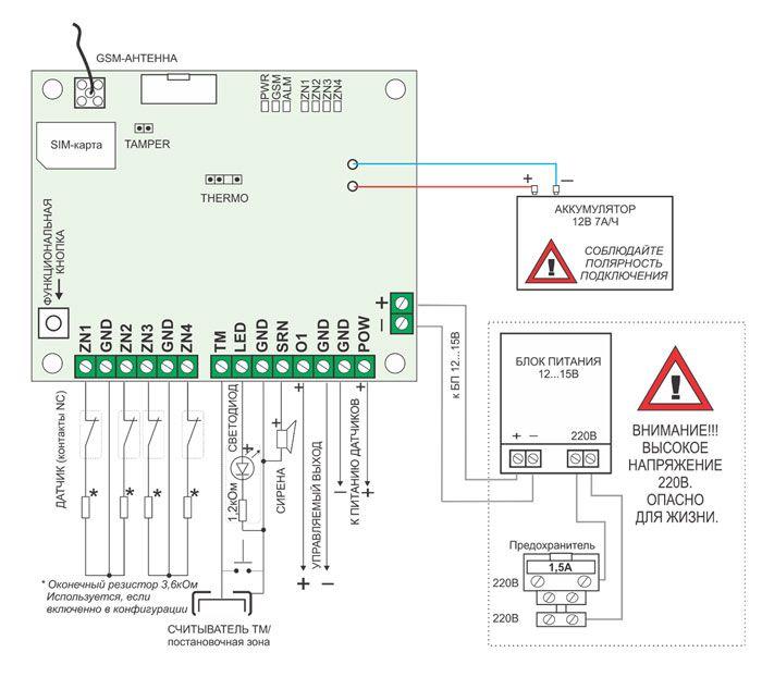 Схема подключения сигнализаци Хорт 5