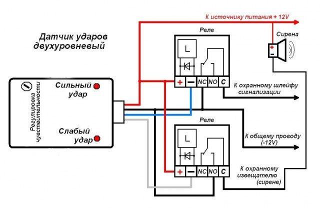 Схема подключения датчика вибрации