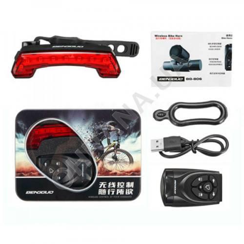 Фото Фонарь велосипедный BG-806-11SMD (red), сигнал + поворотники