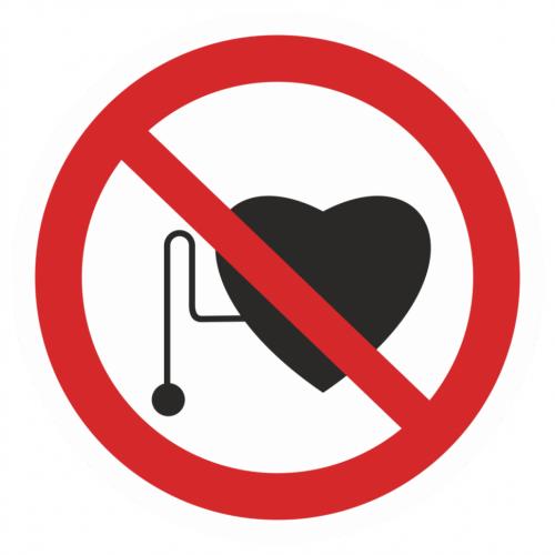 Фото Наклейка запрещающая (Запрещается работа людей со стимуляторами сердечной деятельности)