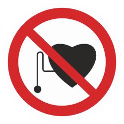 Фото 1 Наклейка запрещающая (Запрещается работа людей со стимуляторами сердечной деятельности)