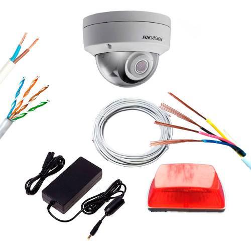 Фото Комплект IP відеоспостереження охорони периметра на базі 5 Mp камери DS-2CD2155FWD-IS (2.8 мм) зі світлоголосовим сповіщенням