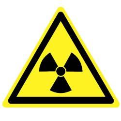 """Фото 1 Наклейка предупреждающая """"Опасно, радиоактивные вещества"""""""
