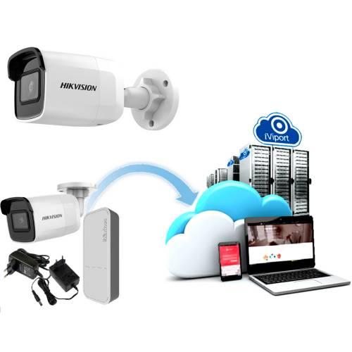 Фото Облачный 4G комплект для улицы камеры Hikvision DS-2CD2021G1-IW и роутера MikroTik