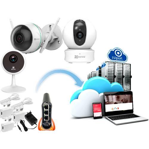 Фото Облачный комплект 3 камер для дома Ezviz CS-CV310(A0-1C2WFR), CS-C1C (D0-1D2WFR), CS-CV246(A0-1C2WFR) и роутера MikroTik