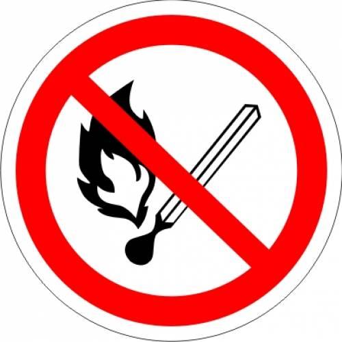 Фото Наклейка запрещающая (Запрещается пользоваться открытым огнем и курить)