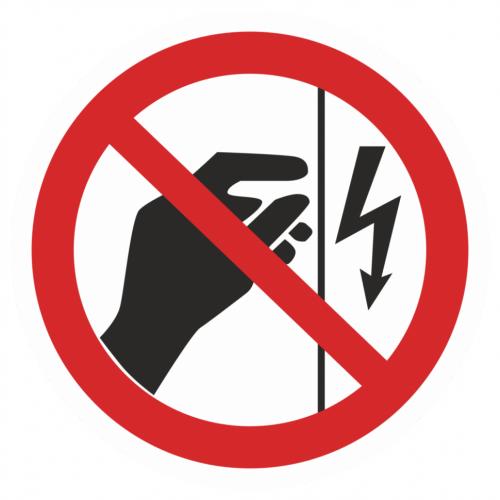 Фото Наклейка запрещающая (Запрещается прикасаться. Корпус под напряжением)